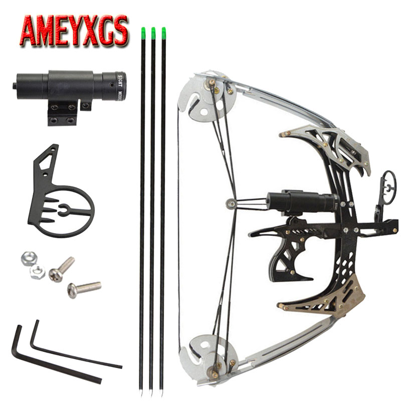 1set Mini Compound Bow Archery Practice Pulley Bows Outdoor Fishingbow Arrows Darts Shooting Training Right Hand Bow Laser Sight