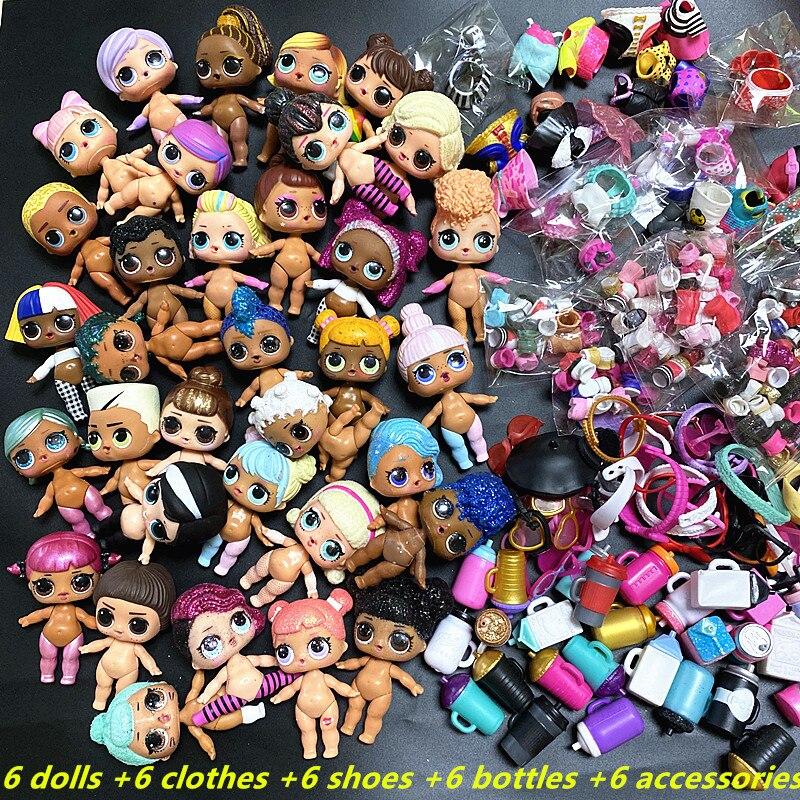 6 poupées + 6 vêtements + 6 chaussures + 6 bouteilles + 6 accessoires ensembles aléatoire L.O.L. SURPRISE! 8cm grande soeur poupées LOL poupée jouet cadeau