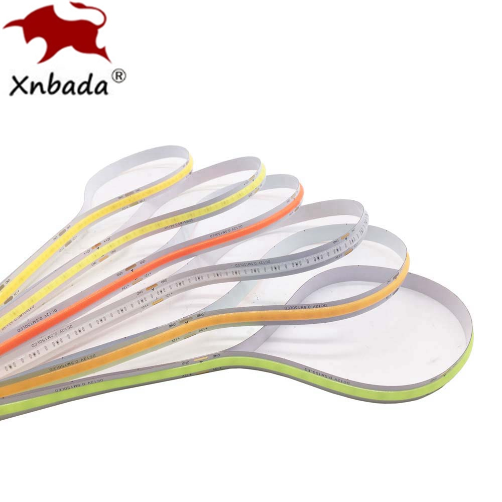 High Density COB/FOB Led Flexible Strip Light, 14W/M RA80 White/Nature White/Warm White/Yellow/Red/Blue/Green IP30 DC12/24V