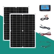 Painel solar 100 w/h/dia painéis fotovoltaicos kit 18v 30w para 5v usb 12v bateria carro outdoorcampismo telefone carga ect doméstico