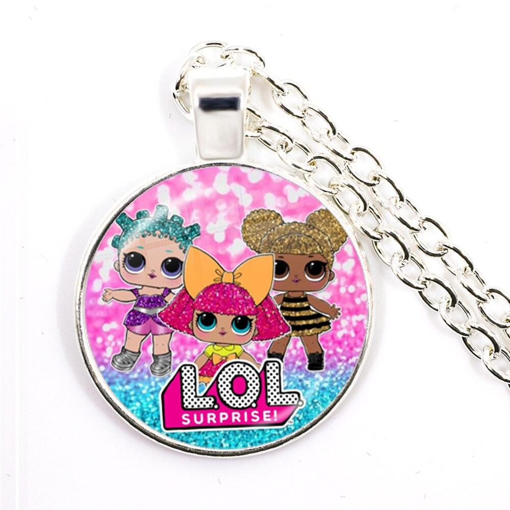 Fashion Cute Pretty Girls Minnie Style Kids 25mm Glass Dome Cabochon Necklace Kawaii Sweater Chain Jewelry Gift For Women Girls 2