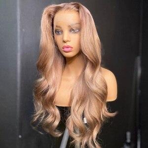 Винтаж золы розовое изящное волна 13x6 глубокий часть Синтетические волосы на кружеве человеческих волос парики с детскими волосами бразиль...
