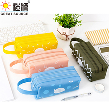 Stand Up Pencil Case Stationery Organizer Bag Two Zipper Bag With Handle Cavas Case Big Space Pencil Case(35PCS)