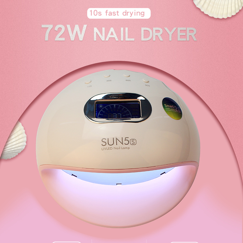 72W SUN5S UV LED Nail Lamp Curing Dryer Nail Art Machine Fast Drying Kinds UV Gel Polish For Home Use Nail Art Tools