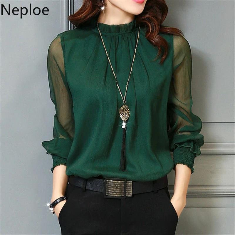 Neploe Womens Tops Chiffon Blouse Korean Summer Woman Clothes Stand Neck  Elegant Ladies Work Wear Shirts Fashion Blusas De Mujer chiffon  blouse elegant ladies blousesladies blouses - AliExpress
