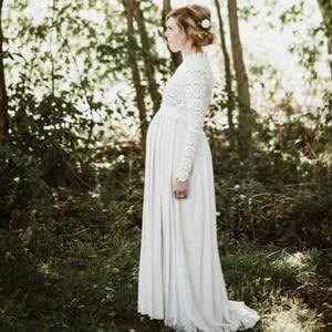 Белое кружевное платье для беременных, плиссированное платье для фотосессии, 2020