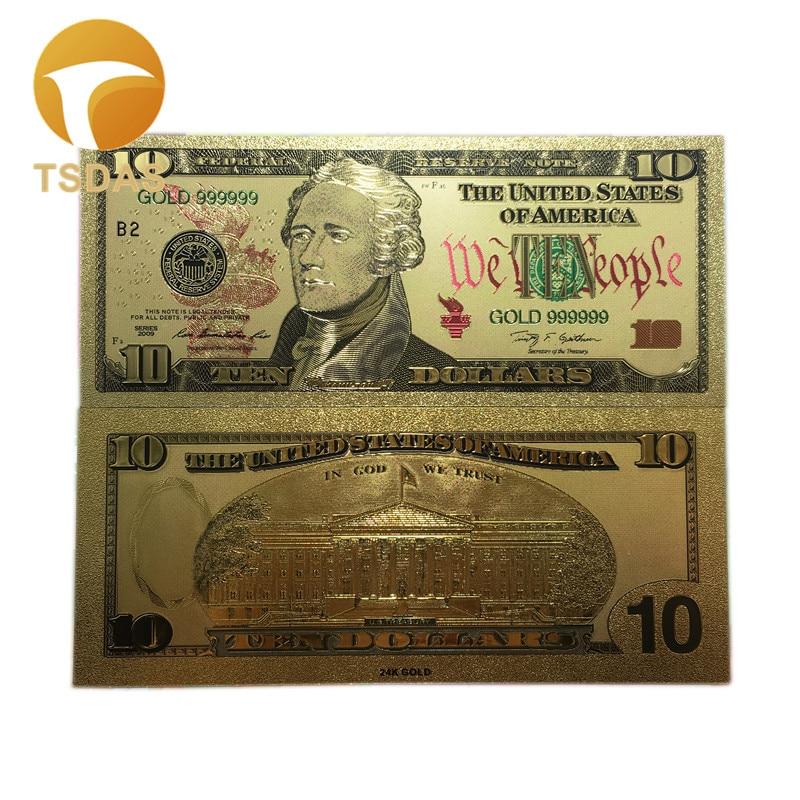 5pcs Business Souvenir Gifts 10 Dollar Color 24k Gold Banknote USD 10 Money