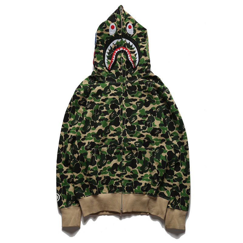 Popular Brand Shark Head Light Green Blue Camouflage Shading Teenager Casual Large Size Pure Cotton Hoodie Coat