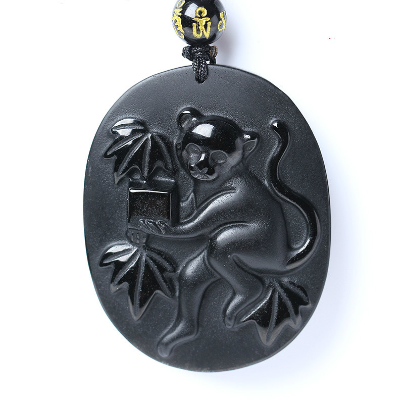 Natural Black Obsidian Beads Necklace Hand-Carved Zodiac Monkey Jade Pendant Charm Jewelry For Man Women Auspicious Amulet Gifts
