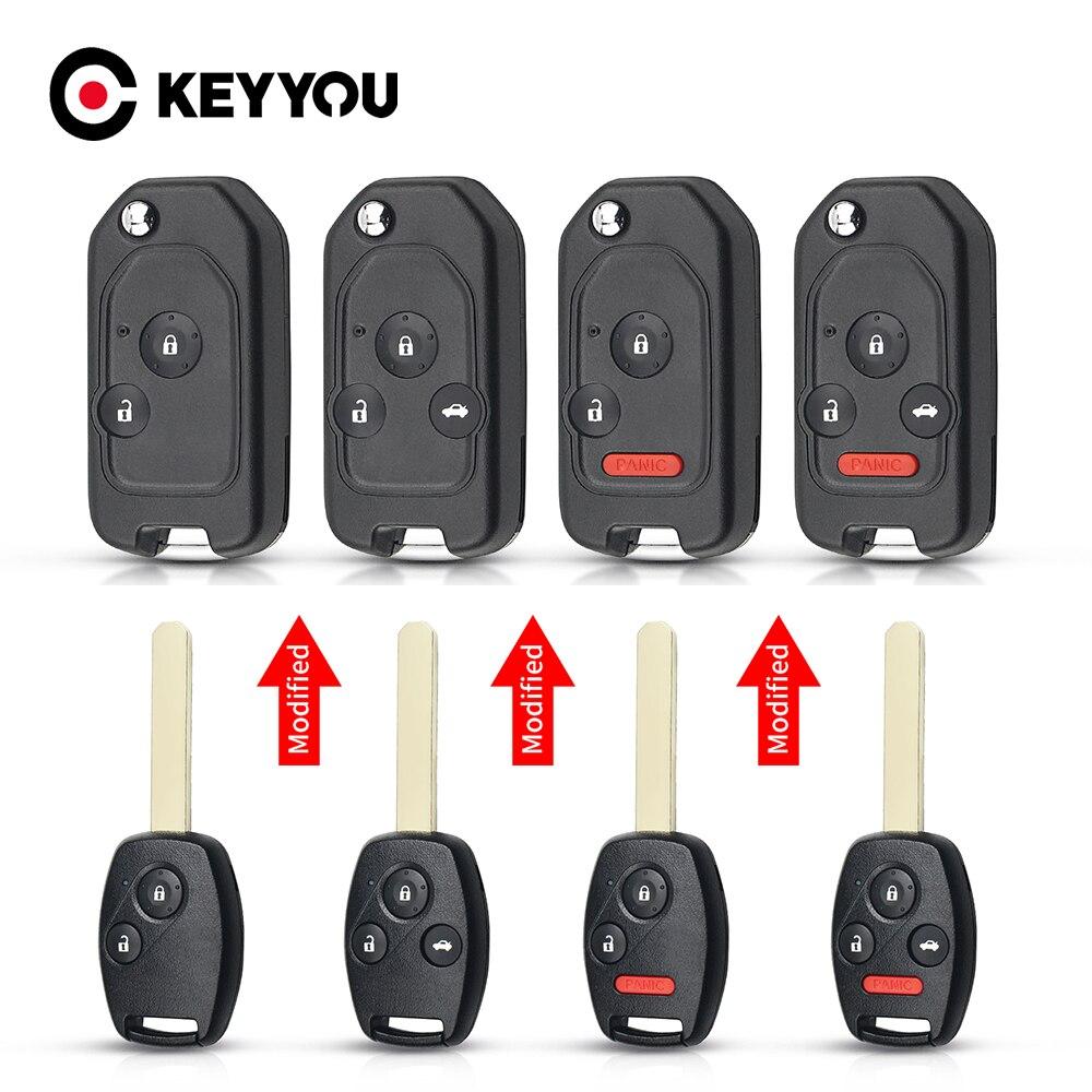 Раскладной чехол KEYYOU для автомобильного ключа-пульта с 2/3/4 кнопками для Honda Fit Accord Civic CRV Pilot vision Jazz HRV 2003 - 2013