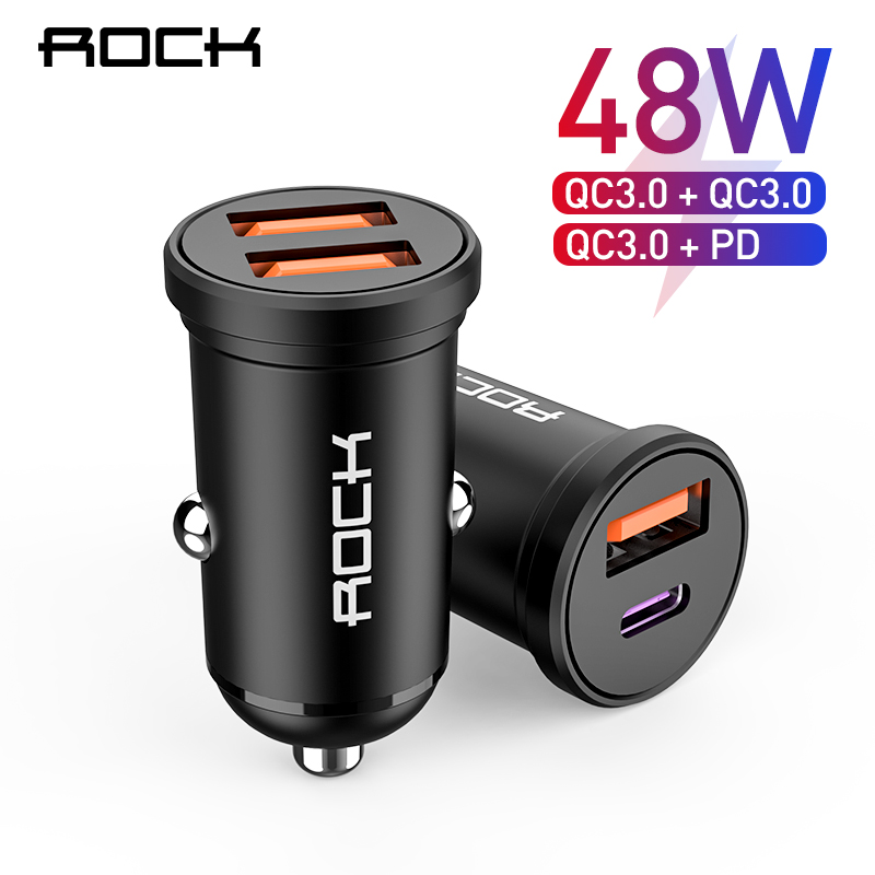 ROCK 48W <font><b>Quick</b></font> <font><b>Charge</b></font> 4.0 QC <font><b>3.0</b></font> PD <font><b>Car</b></font> <font><b>Charger</b></font> For iPhone Xiaomi Huawei Samsung Mobile Phone QC4.0 USB Type C Fast <font><b>Car</b></font> Charging image