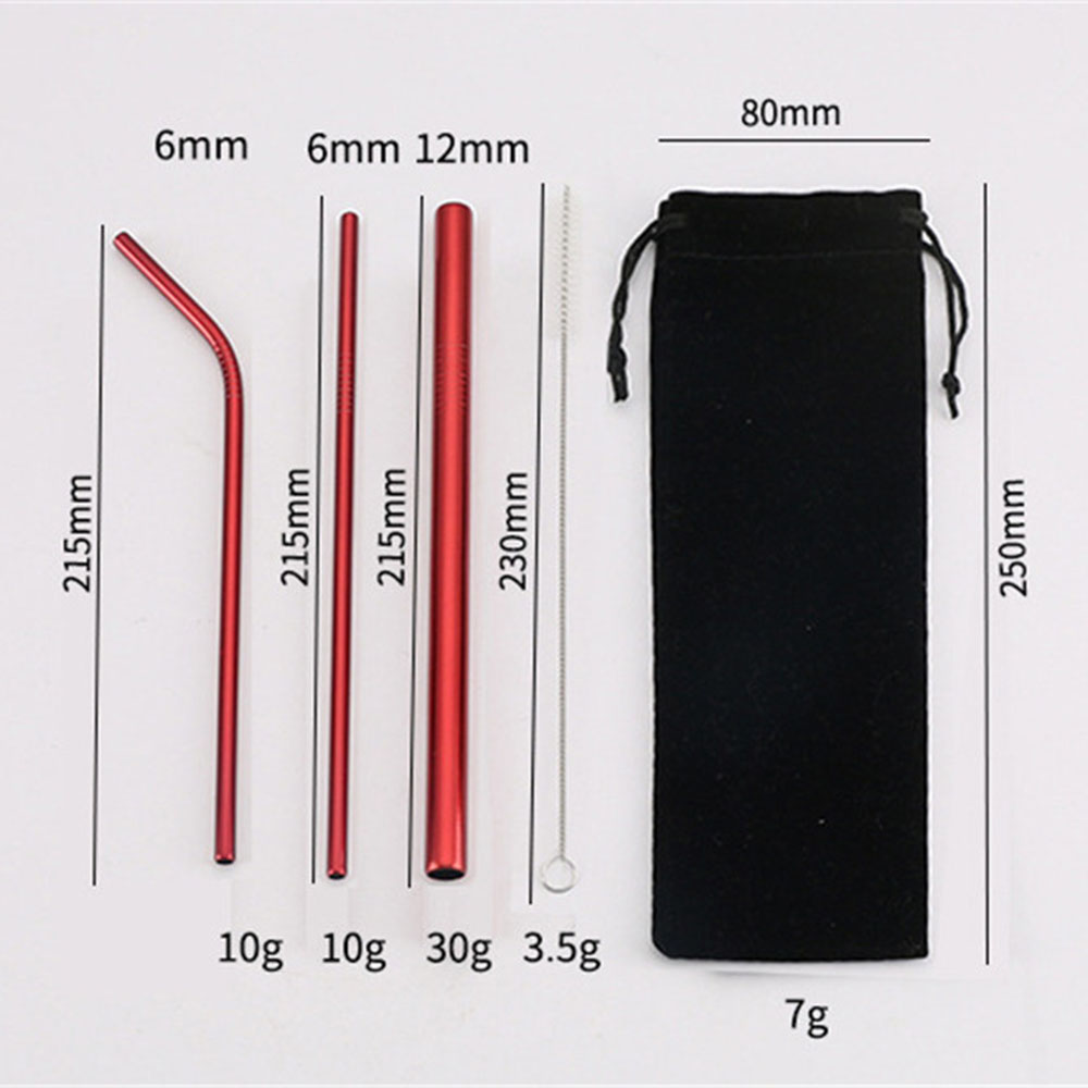5PCS Stainless Steel Reusable Drinking Straws Eco friendly Metal Straw Bent Straight Drinks Straws Cleaner Brush Bar Accessories in Drinking Straws from Home Garden