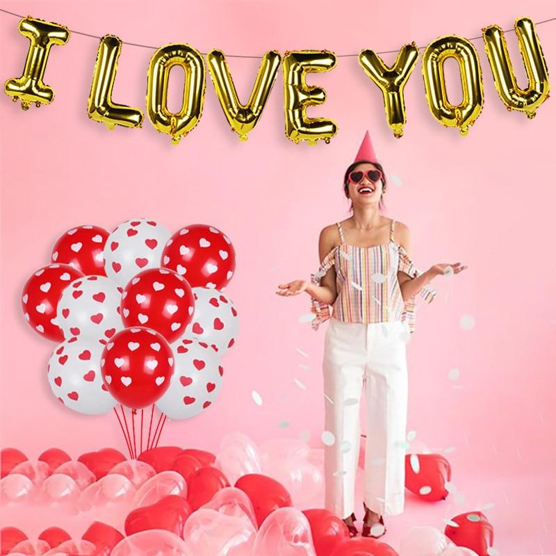 16 Inch I Love Ballonnen 40Pcs Liefde Hart Latex Ballonnen Bruiloft Helium Ballon Valentijnsdag Verjaardagsfeestje Opblaasbare Ballonnen