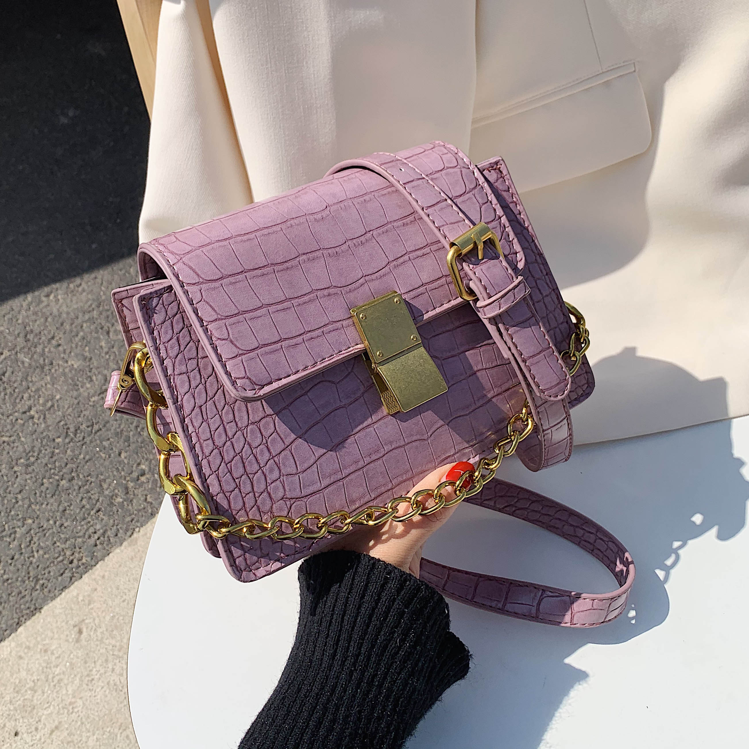 Crocodile Pattern Purple Pu Leather Crossbody Bags For Women 2020 Summer Chain Small Shoulder Handbags Female Quality Totes