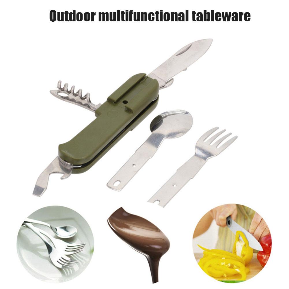 Hot Multifunctional Tableware Portable Cutter Spoon Fork Bottle Opener for Camping BJStore