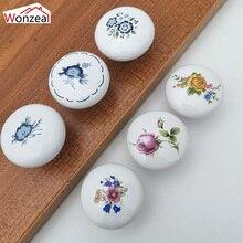 Wonzeal 1PCS White Ceramic Knobs 38MM Single Round Handles Wardrobe Kitchen Garden Door Pulls Modern Cabinet Handle