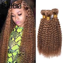 Kinky Curly brazylijski wiązki ludzkich włosów Remy 100% ludzkie włosy splot wiązki 1/3/4 sztuk kręcone wiązki 27 kolor przedłużanie włosów