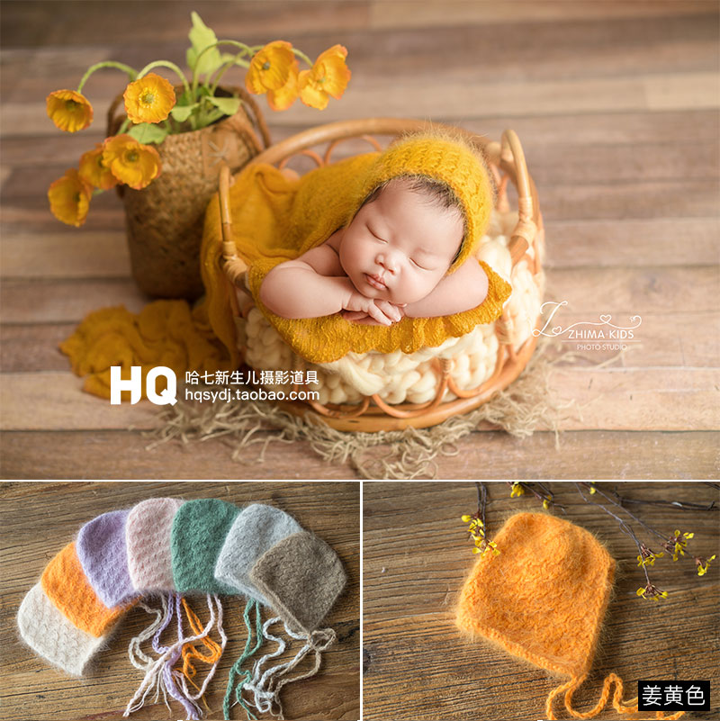 Newborn Photography Props Hat Baby Knit Hats Infant Handmade Mohair Hats Studio Accessories Props Baby