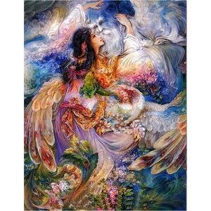 Pintura de diamantes 5D, fantasía, Ángel, belleza, DIY, bordado de diamantes de decoración para el hogar, mosaico de pavo real, arte de pared de hadas