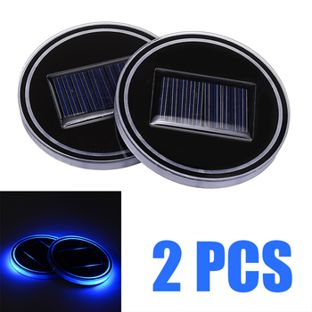 2 sztuk 6 8cm samochodów automatyczny Panel słoneczny wody podstawka pod kubek akcesoria niebieskie jasne światło LED pokrywa dekoracja wnętrz akcesoria do Lamp części tanie i dobre opinie Mayitr Akrylowe