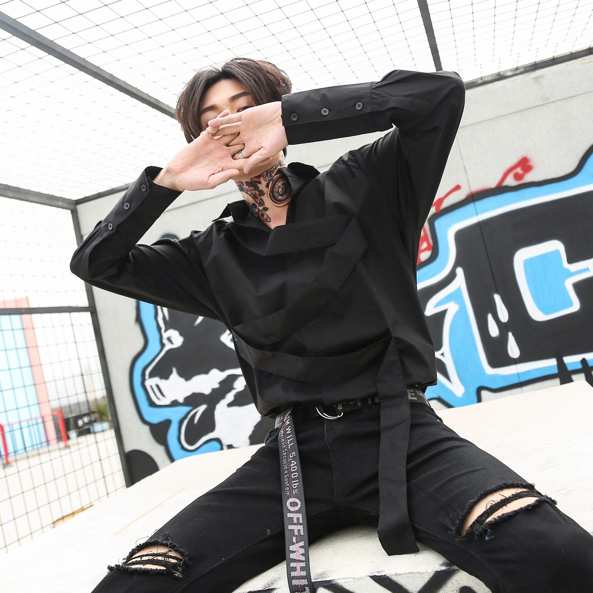 Men Long Sleeve Casual Shirts High Street Fashion Male Punk Hip Hop Black Dress Shirt Stage Clothing