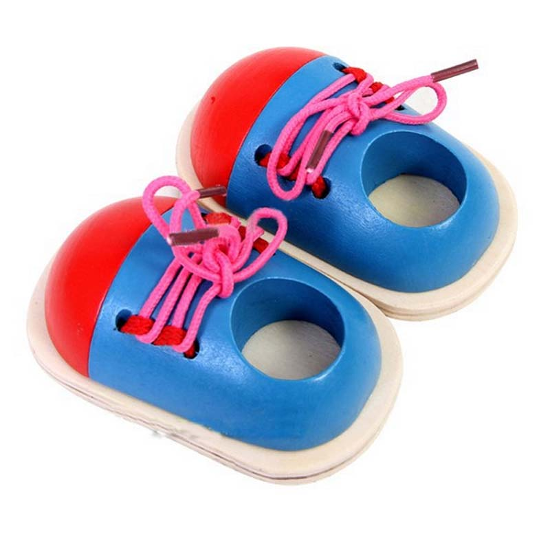 1pc Learning Tie Shoe Children Wooden Toys Toddler Lacing Shoes Early Education Montessori Teaching Aids For Kids