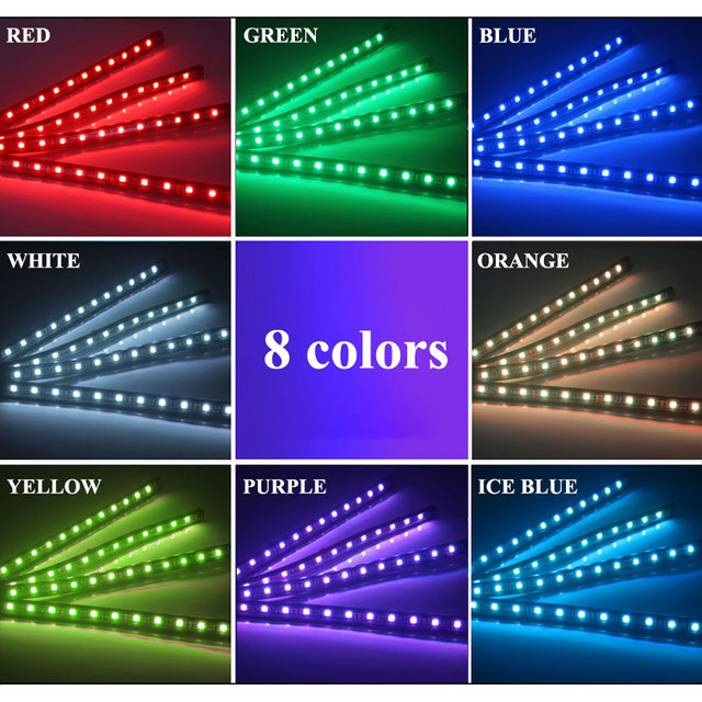 Car styling Foot Light Interior Wireless Remote/Music/Voice Control Decoration Light Cigarette LED Atmosphere RGB LampStrip 2