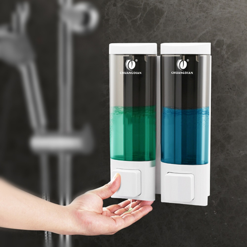 CHUANGDIAN 200ml Double Liquid Soap Dispenser Wall Pump Spray Lotion Drop Liquid Soap Dispenser Home Shampoo Box ABS Shower Room