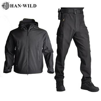 Army Waterproof Airsoft Hunting Clothes SoftShell Hunting Jacket Sets Tactical Jackets Pants Suit Shark Skin Military Coat Pants 3
