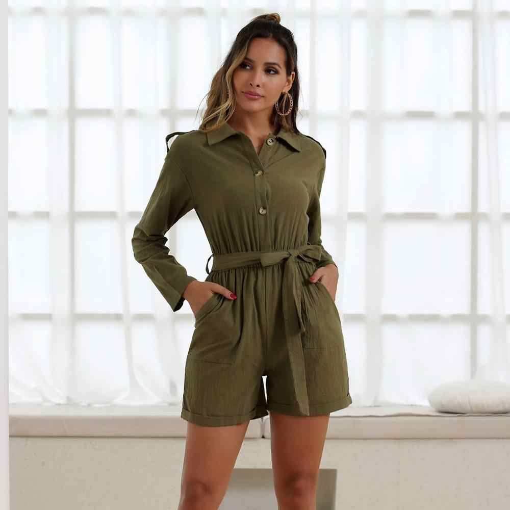 short jumpsuits for women 2019 autumn fashion long sleeve rompers plus size clothing army green button one piece outfit 50111
