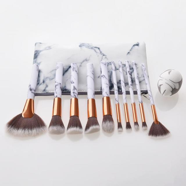 10Pcs/Set Makeup Brushes With Bag Professional Marbling Handle Foundation Eyeshadow Powder Make Up Brushes Set Beauty Tool TSLM2 4