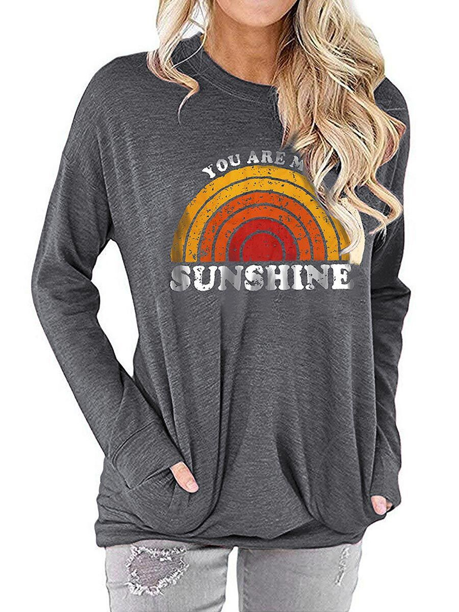 """autumn Cotton women's """"You Ae My Sunshine"""" Letter print Pullovers loose streetwear casual hoodie sweatshirt top clothes"""