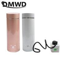 Dmwd portátil mini chaleira elétrica de água aquecimento térmico caldeira viagem aço inoxidável bule chá café leite copo fervente 110 v 220 v|Chaleiras elétricas| |  -