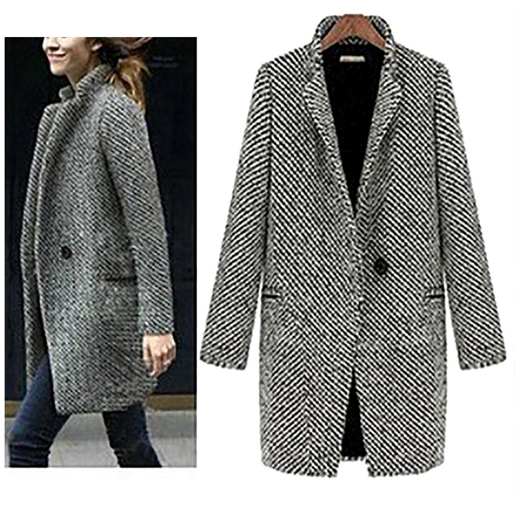 S-XL Casual Women Woolen Long Coat Womens 2019 Winter Solid Color Loose Female Thinning Wool Blend Coat