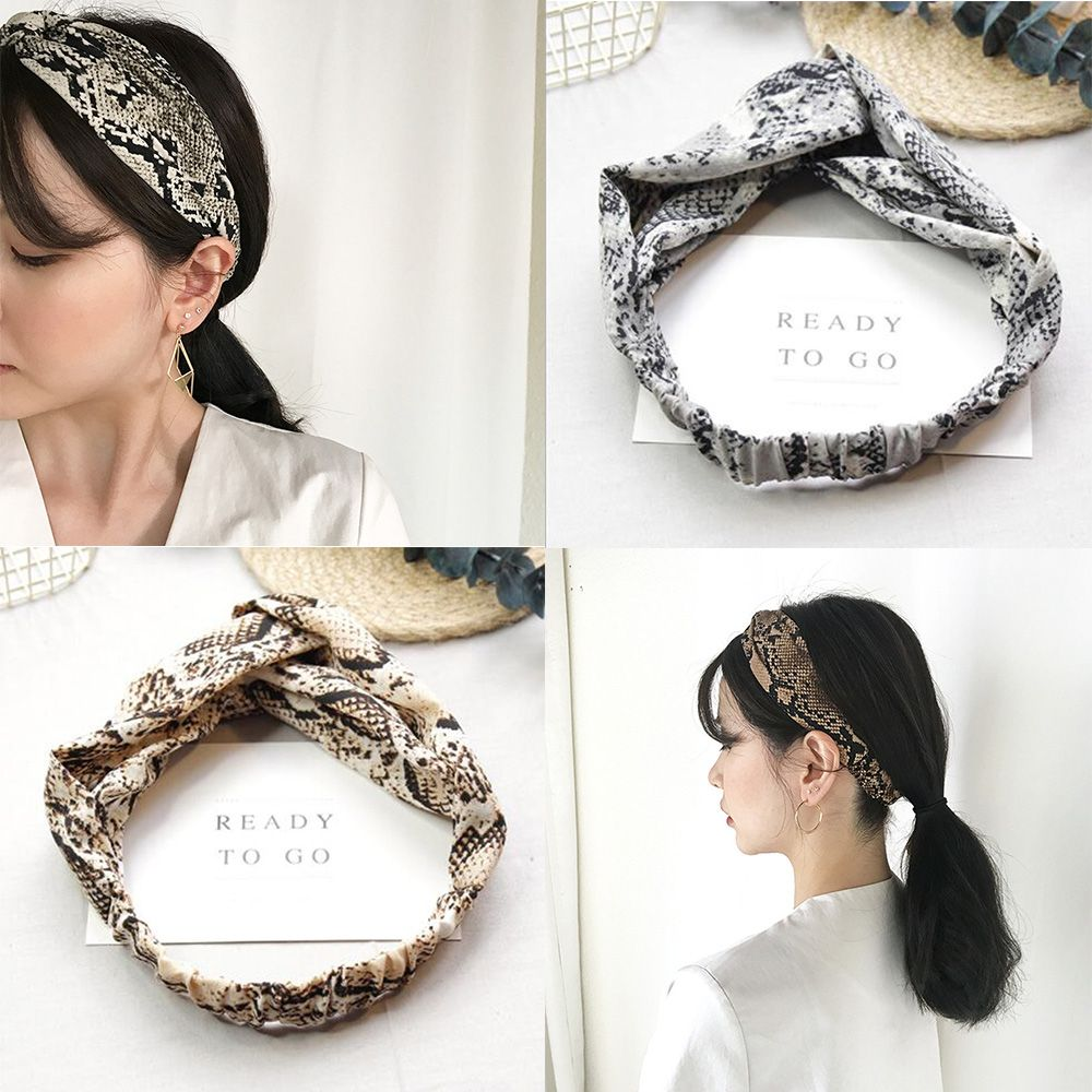New Arrival Fashion Women Occident Headbands Girl's Snake Printed Hairband Lady's Cross Wild Hair Accessories Headwrap Bandage