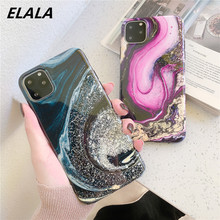 ELALA Glossy Crystal Marble Case For iPhone 11Pro XR XS Max Funda iphone X 7 6s 8Plus Glitter Soft Back Cover Capa