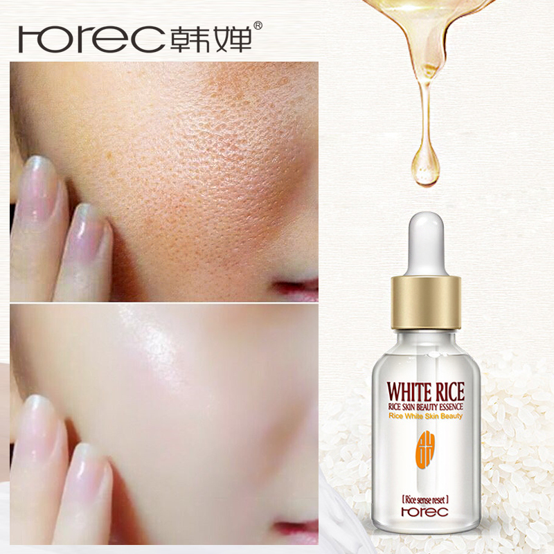 HOREC White Rice Whitening  Facial Skin Care Essence Adjust Skin Tone Brighten Moisturizer Nourish Anti Wrinkle Face Serum 15ml