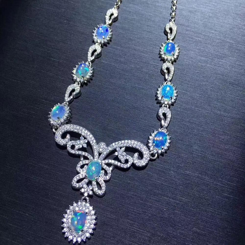 Natural Opal Necklace, The Only Color-changing Gem In The World, 925 Sterling Silver, Party And Wedding Scene