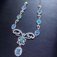 Natural Opal Necklace, the only color changing gem in the world, 925 Sterling silver, party and wedding scene