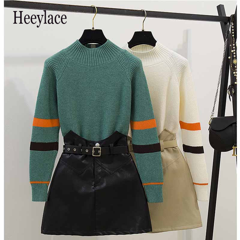 Knitted Striped Long Sleeve Fashion O-Neck Women Autumn Winter Sweaters Tops+High Waist Female Casual Mini Leather Skirts Sets