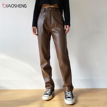 Faux PU spodnie skórzane dla kobiet spodnie wysokiej talii proste nogawki moda brązowe Casual Vintage spodnie dresowe Streetwear tanie i dobre opinie BIAO SHENG POLIESTER Faux leather Pełna długość CN (pochodzenie) Na wiosnę jesień BS288 Stałe Na co dzień Mieszkanie
