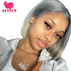 Grey Bob Wig Human-Hair-Wigs Hairline Lace-Front ALITOP Pre-Plucked Straight Peruvian