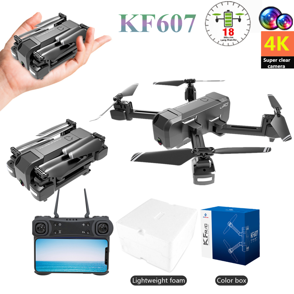 RC Mini Drone KF607 With 4K/1080P HD Dual Camera Optical Flow Selfie Quadcopter Foldable Drone VS SJRC Z5 F11 VISUO XS812 E58