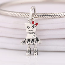 Authentic S925 Bead Red Enamel Bow Girl Robot Charm fit Lady Bracelet Bangle DIY Jewelry(China)