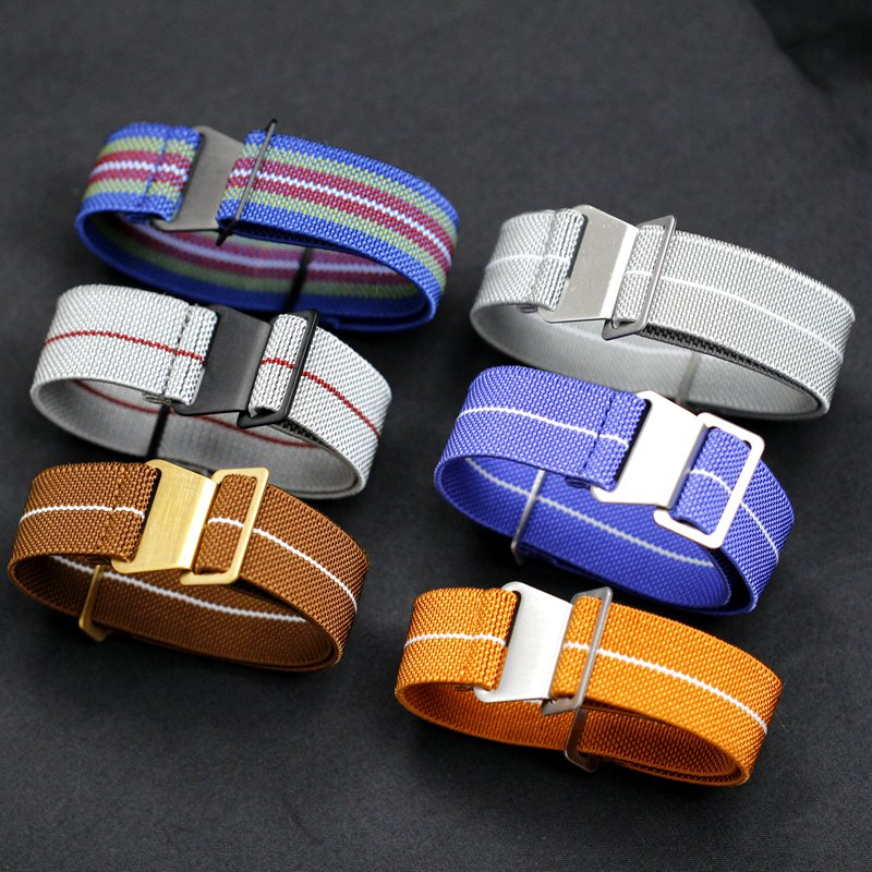 Color Parachute France MN 22MM 20MM Elastic Nylon Outdoor Military Watches Movement Retro NATO Strap Watch Band Men Wristwatch
