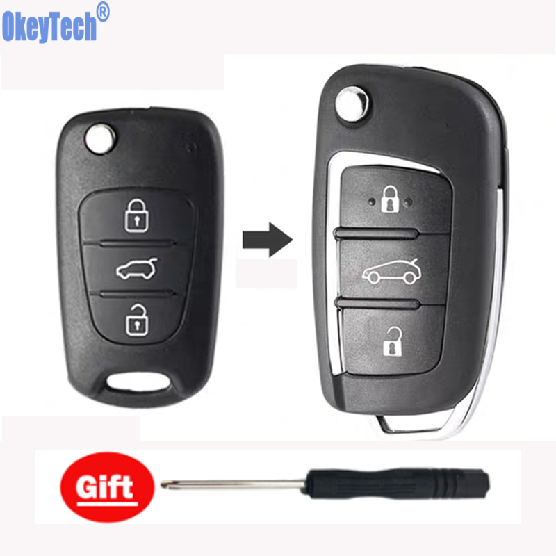 Automobile Locksmith 3 Button Remote Flip Key Shell Case for Hyundai Santa ix45 ix35 i20 Santa Fe keyless entry remote fob