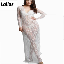 Sexy see-through lace dress maternity dress maternity photography dress bao ma portrait Europe and America v-neck long skirt White(China)