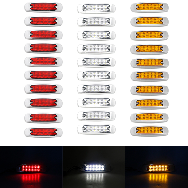 12 LEDs Car Side Marker Lights Clearance Lamp For  24V Automobiles Truck Trailer Red Yellow White