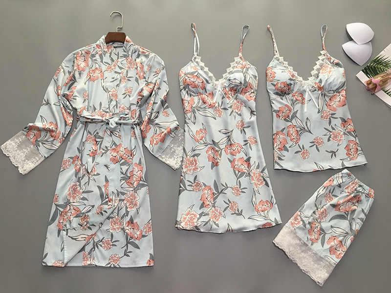 Pijamas de señora para el hogar 4 Pza Correa Top pantalones traje de dormir conjuntos de camisón de mujer Sexy Kimono bata de dormir bata de baño camisón