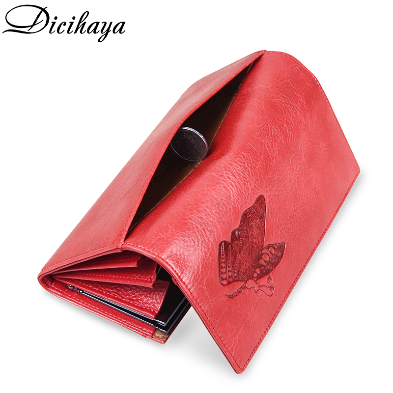 DICIHAYA Print Butterfly Women Wallets Large Long Wallet Top Quality Leather Card Holder Female Purse Buckles Wallet For Women
